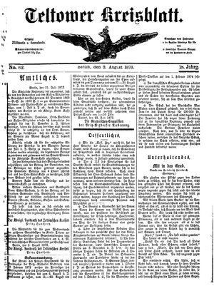 Teltower Kreisblatt vom 02.08.1873