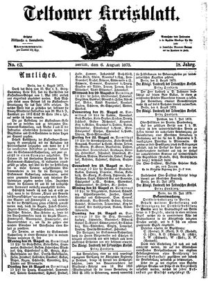 Teltower Kreisblatt vom 06.08.1873