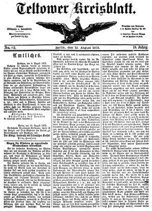 Teltower Kreisblatt vom 13.08.1873