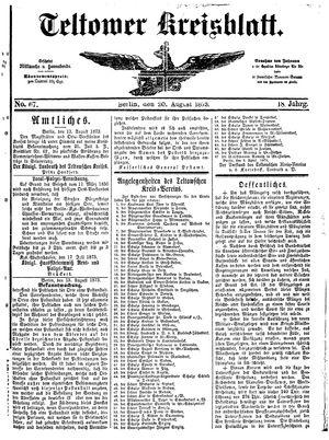 Teltower Kreisblatt vom 20.08.1873