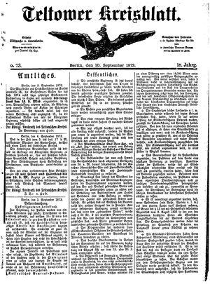 Teltower Kreisblatt vom 10.09.1873