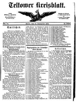 Teltower Kreisblatt vom 13.09.1873