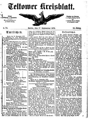 Teltower Kreisblatt vom 17.09.1873