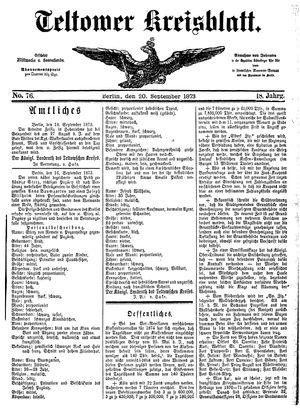 Teltower Kreisblatt vom 20.09.1873