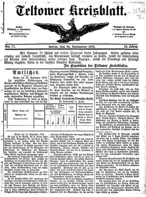 Teltower Kreisblatt vom 24.09.1873