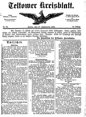 Teltower Kreisblatt vom 27.09.1873
