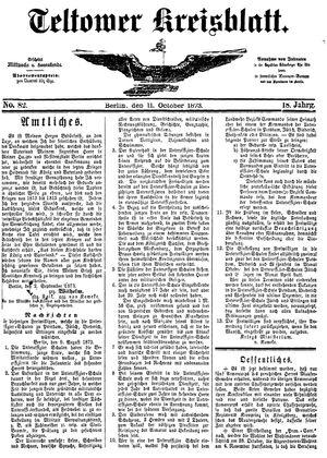 Teltower Kreisblatt vom 11.10.1873