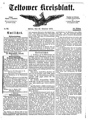 Teltower Kreisblatt vom 25.10.1873