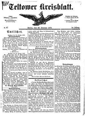 Teltower Kreisblatt vom 29.10.1873