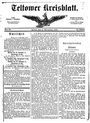 Teltower Kreisblatt vom 05.11.1873