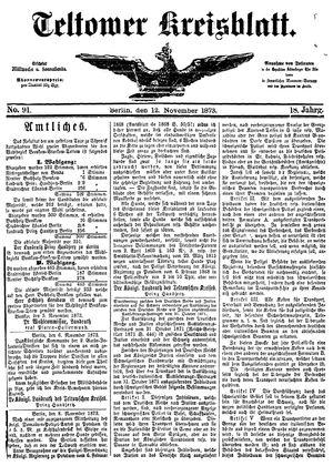 Teltower Kreisblatt vom 12.11.1873