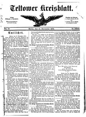 Teltower Kreisblatt vom 15.11.1873