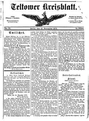 Teltower Kreisblatt vom 19.11.1873