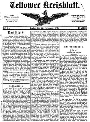 Teltower Kreisblatt on Nov 22, 1873