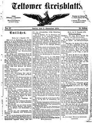Teltower Kreisblatt vom 03.12.1873