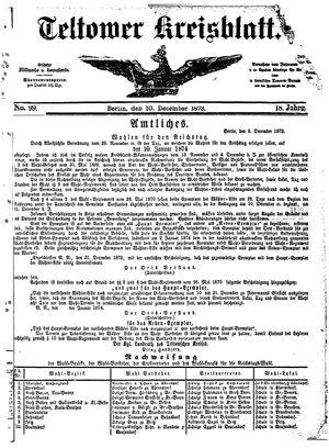 Teltower Kreisblatt on Dec 10, 1873