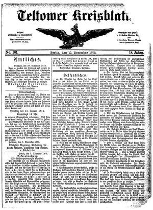 Teltower Kreisblatt vom 17.12.1873