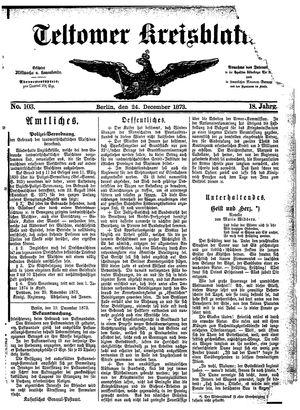 Teltower Kreisblatt vom 24.12.1873