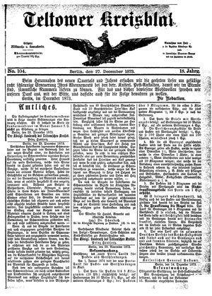 Teltower Kreisblatt on Dec 27, 1873