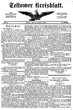 Teltower Kreisblatt vom 15.01.1876