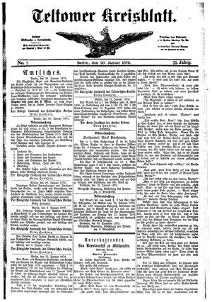Teltower Kreisblatt vom 20.01.1876