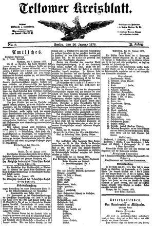 Teltower Kreisblatt vom 26.01.1876
