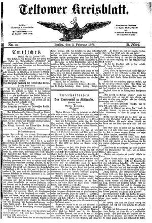 Teltower Kreisblatt on Feb 2, 1876