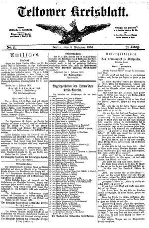 Teltower Kreisblatt vom 05.02.1876