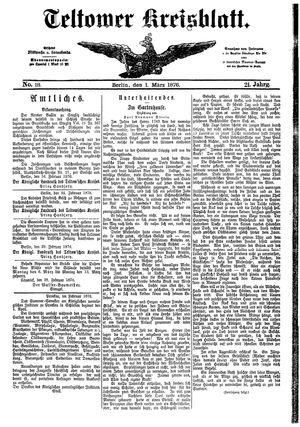 Teltower Kreisblatt vom 01.03.1876