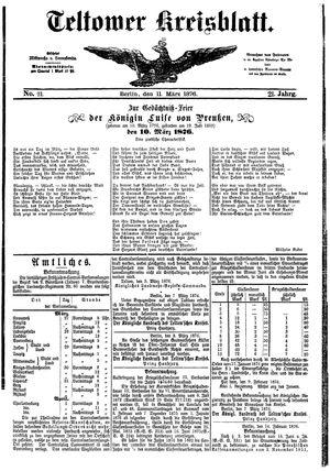 Teltower Kreisblatt vom 11.03.1876