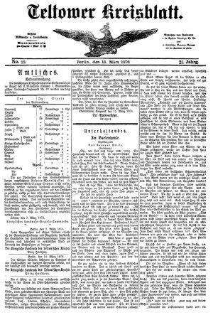 Teltower Kreisblatt vom 18.03.1876