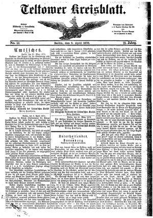 Teltower Kreisblatt vom 05.04.1876