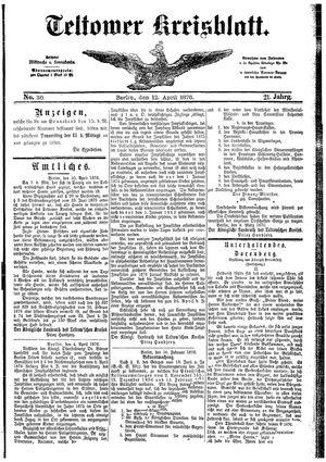 Teltower Kreisblatt vom 12.04.1876