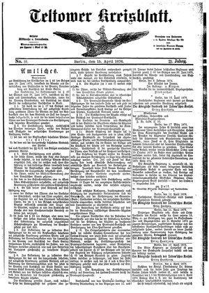 Teltower Kreisblatt vom 15.04.1876