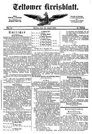 Teltower Kreisblatt vom 22.04.1876
