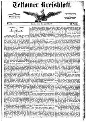 Teltower Kreisblatt vom 29.04.1876