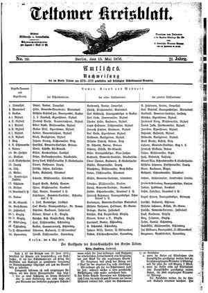 Teltower Kreisblatt vom 13.05.1876