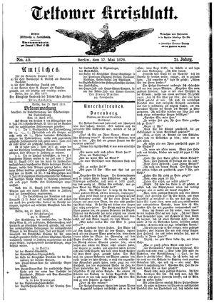 Teltower Kreisblatt on May 17, 1876