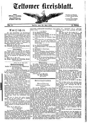 Teltower Kreisblatt vom 20.05.1876