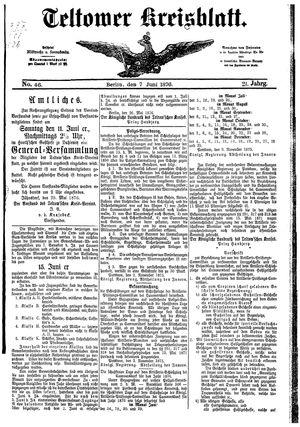 Teltower Kreisblatt vom 07.06.1876