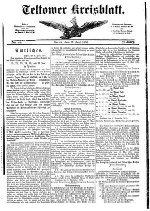 Teltower Kreisblatt vom 17.06.1876