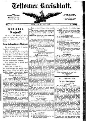 Teltower Kreisblatt vom 21.06.1876