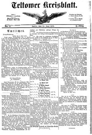 Teltower Kreisblatt vom 24.06.1876