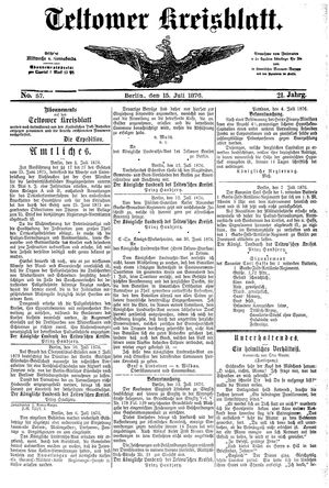 Teltower Kreisblatt vom 15.07.1876