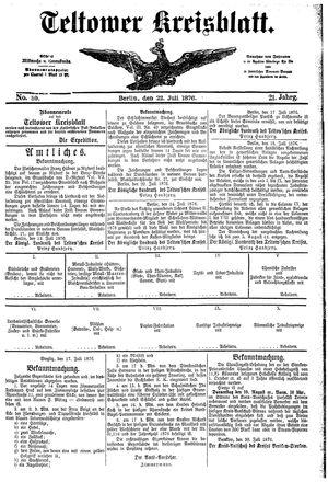 Teltower Kreisblatt vom 22.07.1876