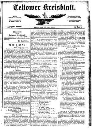 Teltower Kreisblatt vom 29.07.1876