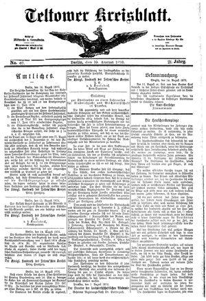 Teltower Kreisblatt vom 19.08.1876