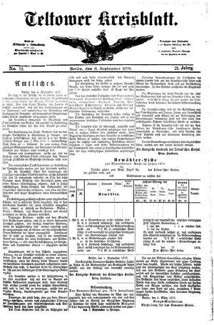 Teltower Kreisblatt vom 06.09.1876