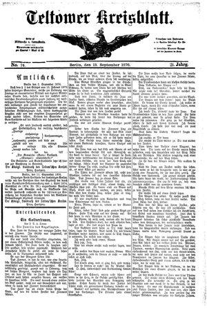 Teltower Kreisblatt vom 13.09.1876