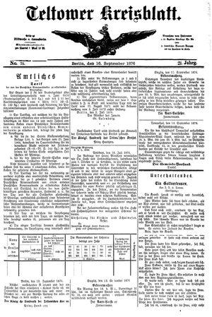 Teltower Kreisblatt vom 16.09.1876